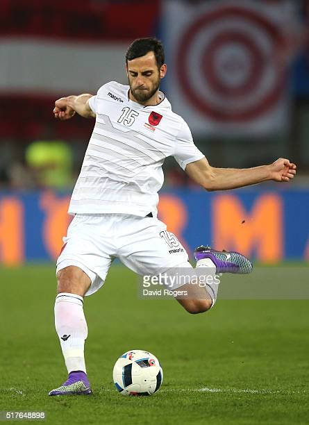 Mergim Mavraj of Albania passes the ball during the international friendly match between Austria and Albania at the ErnstHappelStadion on March 26...