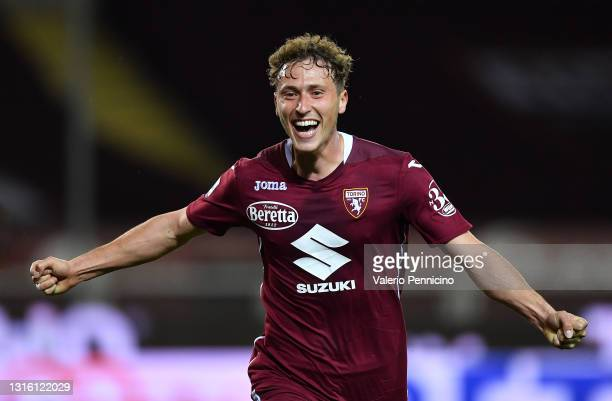 Mergim Vojvoda of Torino FC celebrates after scoring their side's first goal during the Serie A match between Torino FC and Parma Calcio at Stadio...