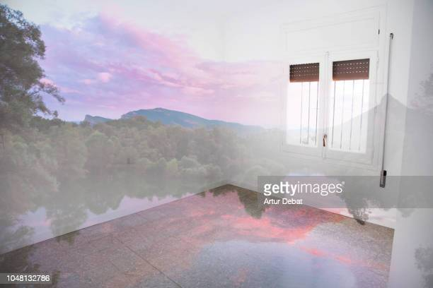 merging nature sunset landscape inside new house room. - a sense of home stock photos and pictures
