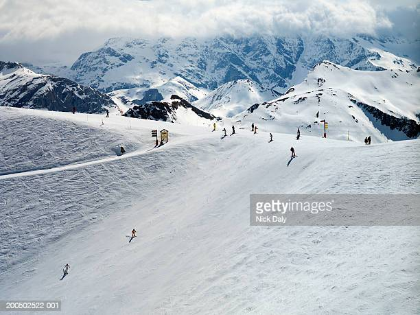 meribel, france, ski slope, elevated view - meribel stock photos and pictures