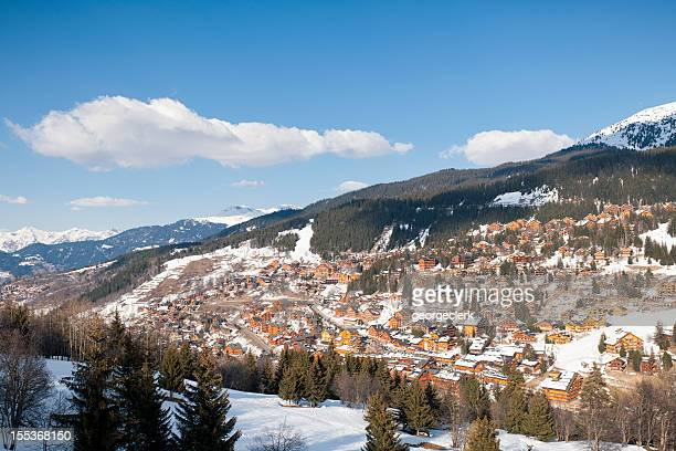 meribel in the trois vallees, france - meribel stock photos and pictures