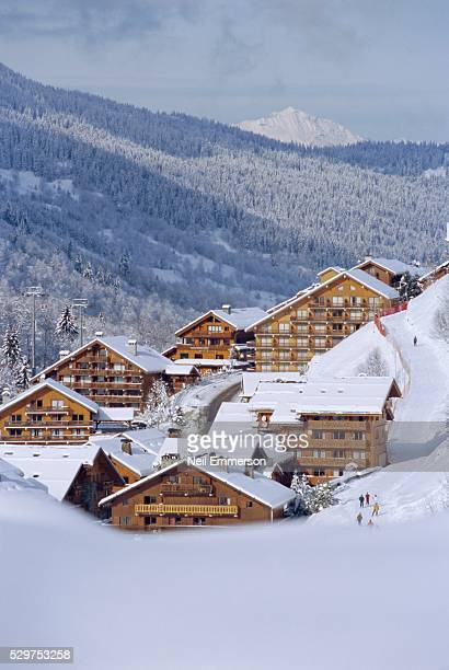 meribel in winter, rhone-alpes, france - meribel stock photos and pictures