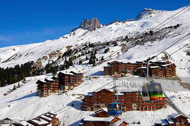 meribel mottaret, ski resort trois vallees france - meribel stock photos and pictures