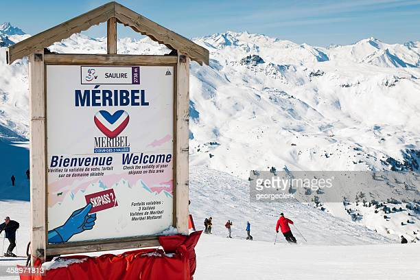 meribel ski resort sign - meribel stock photos and pictures