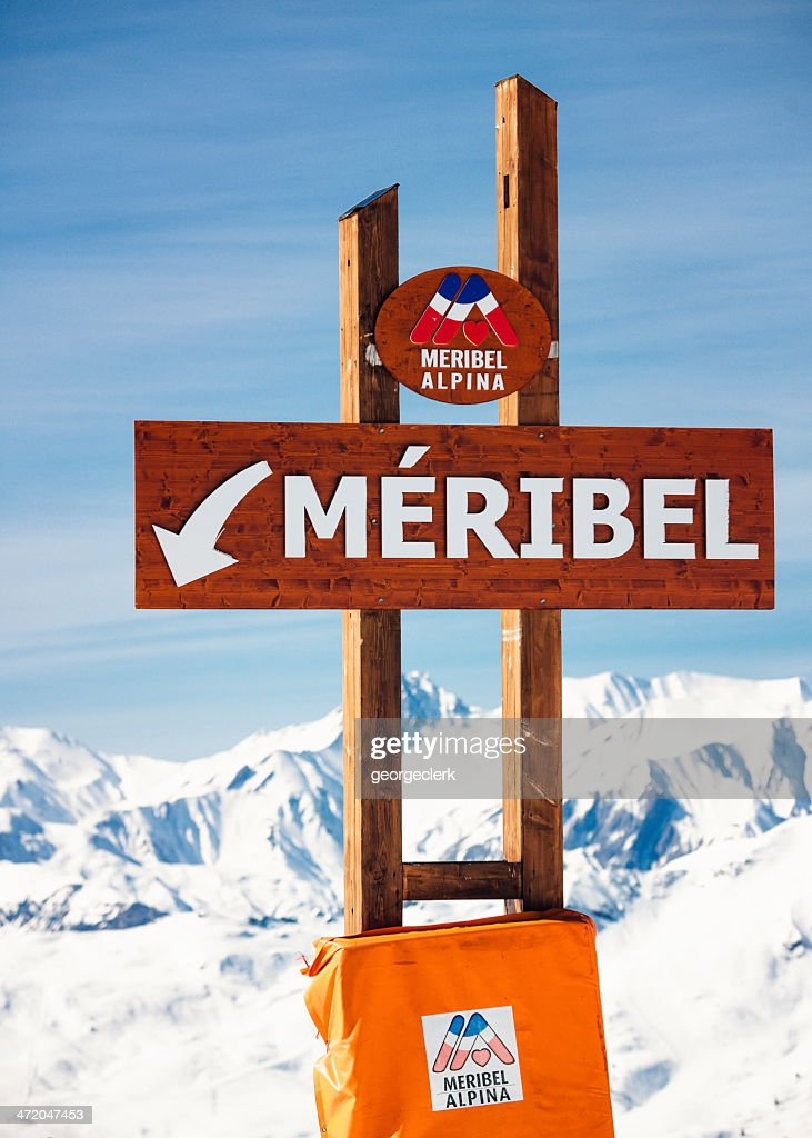 Meribel Ski Resort Sign : Stock Photo
