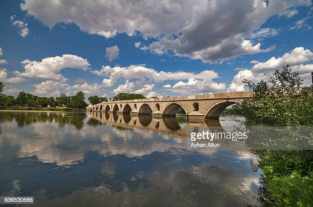 meric bridge against sky with clouds ,edirne, turkey - edirne stock pictures, royalty-free photos & images