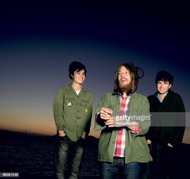 Meric Long of The Dodos Robin Pecknold of Fleet Foxes and Ezra Koenlg of Vampire Weekend pose for a group shot in 2008 in San Francisco CA