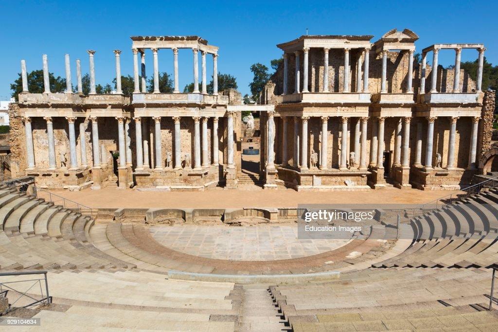 Merida, Badajoz Province, Spain. The Roman theatre built in the first century BC. : News Photo