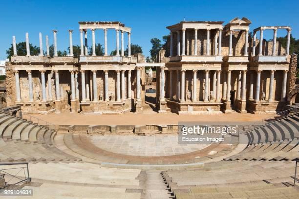 Merida Badajoz Province Spain The Roman theatre built in the first century BC