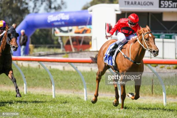 Meridian Star ridden by Jessica Payne wins the LV Forklifts BM64 Handicap at Traralgon Racecourse on November 04 2017 in Traralgon Australia