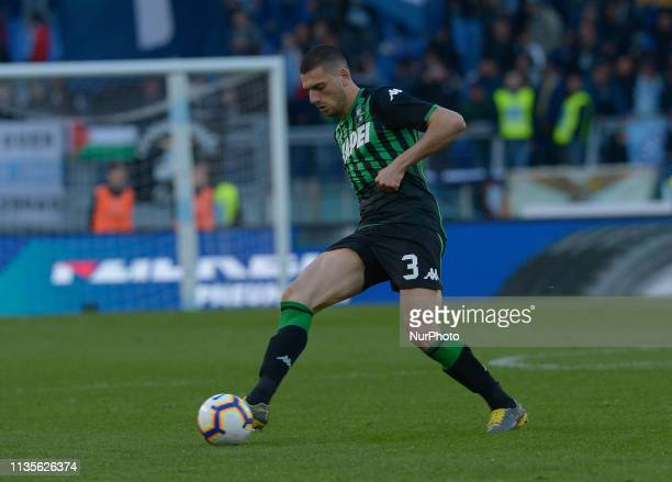 Merih Demiral during the Italian Serie A football match between SS Lazio and Sassuolo at the Olympic Stadium in Rome on april 07 2019