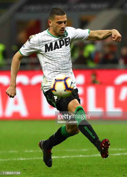 Merih Demiral of AC Milan in action during the Serie A match between AC Milan and US Sassuolo at Stadio Giuseppe Meazza on March 2 2019 in Milan Italy