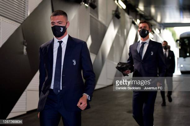 Merih Demiral of Juventus arrives at the stadium prior to the Serie A match between Juventus and SS Lazio at Allianz Stadium on July 20, 2020 in...