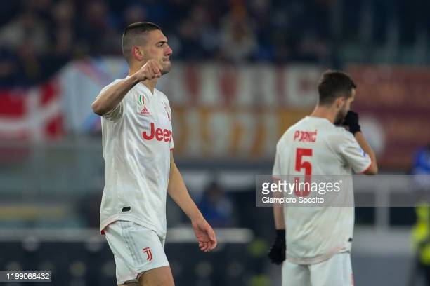 Merih Demiral of Juventus celebrates after scoring the opening goal during the Serie A match between AS Roma and Juventus at Stadio Olimpico on...