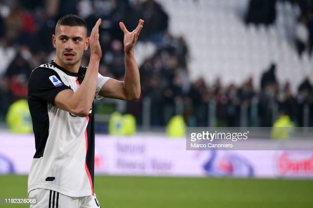 Merih Demiral of Juventus FC celebrate at the end of the Serie A match between Juventus Fc and Cagliari Calcio Juventus Fc wins 40 over Cagliari...