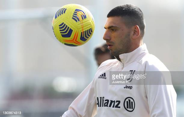 Merih Demiral of Juventus FC in acion during a Juventus FC training session at JTC on February 24, 2021 in Turin, Italy.