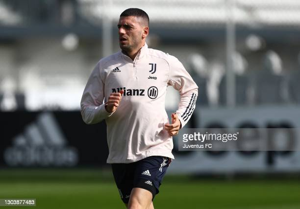Merih Demiral of Juventus FC looks on at JTC on February 24, 2021 in Turin, Italy.