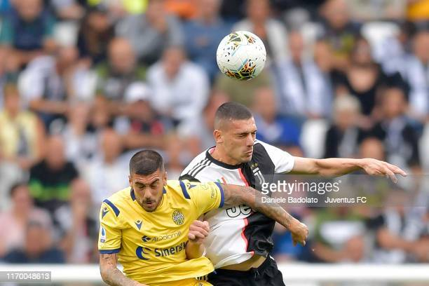 Merih Demiral of Juventus heads the ball during the Serie A match between Juventus and Hellas Verona at Allianz Stadium on September 21 2019 in Turin...