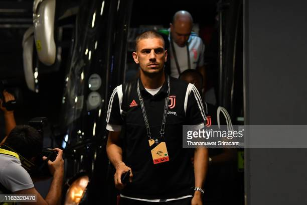 Merih Demiral of Juventus is seen on arrival at the stadium prior to the International Champions Cup match between Juventus and Tottenham Hotspur at...