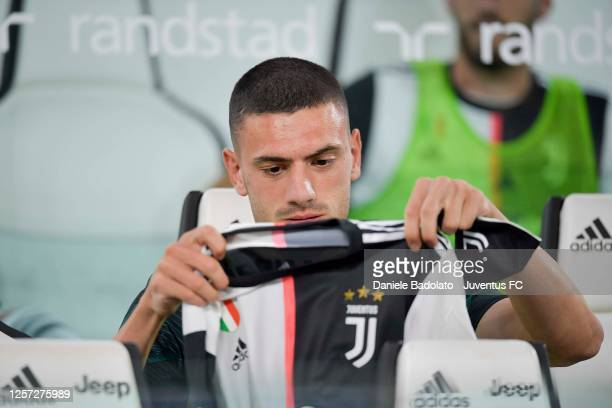 Merih Demiral of Juventus on the bench during the Serie A match between Juventus and SS Lazio at Allianz Stadium on July 20, 2020 in Turin, Italy.