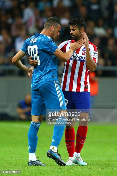 Merih Demiral of Juventus reacts to Diego Costa of Atletico Madrid during the International Champions Cup match between Atletico Madrid and Juventus...