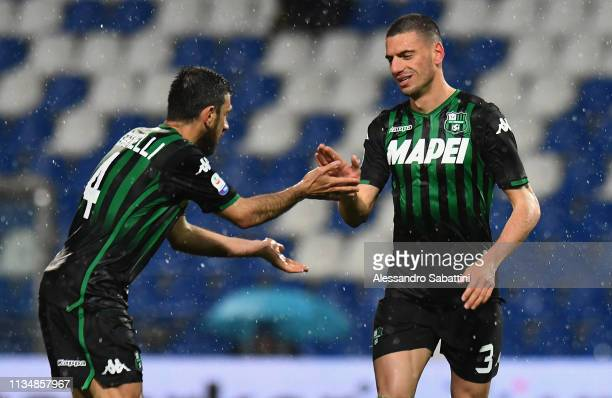 Merih Demiral of Sassuolo celebrates after scoring his team second goal during the Serie A match between US Sassuolo and Chievo at Mapei Stadium...