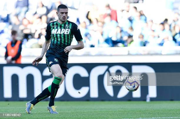 Merih Demiral of Sassuolo during the Serie A match between SS Lazio and Sassuolo at Stadio Olimpico Rome Italy on 7 April 2019