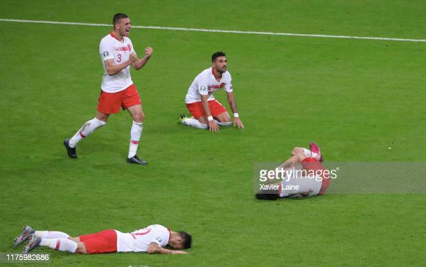 Merih Demiral of Turkey celebrate the score with teammattes after the 2020 UEFA European Championships Group H qualifying match between France and...