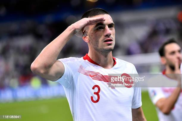 Merih Demiral of Turkey celebrates with the fans making a military salute after the UEFA Euro 2020 qualifier between France and Turkey on October 14...