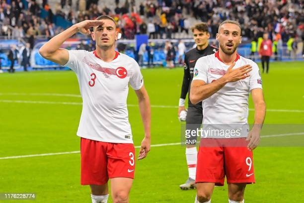 Merih Demiral of Turkey Cenk Tosun of Turkey during the UEFA EURO 2020 qualifier group C qualifying match between France v Turkye at Stade de France...