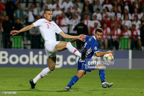 Merih Demiral of Turkey in action against Radu Ginsari of Moldova during the EURO Qualifiers 2019/20 Qualifying round Group H match between Moldova...