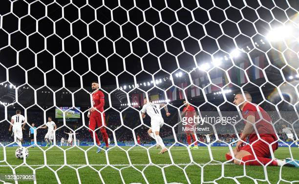 Merih Demiral of Turkey looks dejected after scoring an own goal for Italy's first goal during the UEFA Euro 2020 Championship Group A match between...