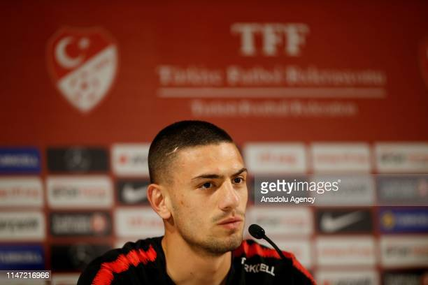 Merih Demiral of Turkish National Football Team attends a press conference ahead of an International match against Uzbekistan in Antalya Turkey on...