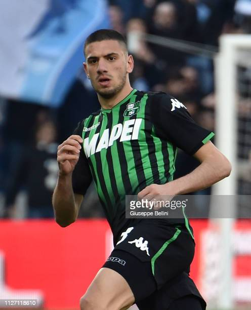 Merih Demiral of US Sassuolo in action during the Serie A match between US Sassuolo and SPAL at Mapei Stadium Citta' del Tricolore on February 24...