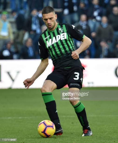 Merih Demiral of US Sassuolo in action during the Serie A match between US Sassuolo and SPAL at Mapei Stadium - Citta' del Tricolore on February 24,...