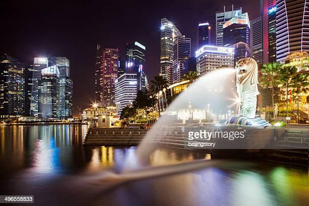merilon statue, singapore - merlion park stock photos and pictures
