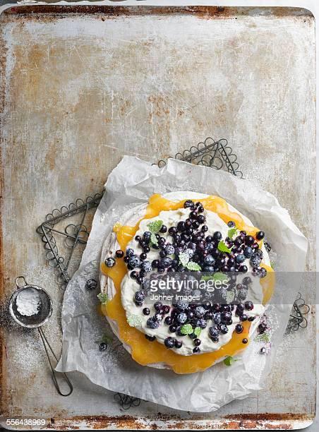 Meringue with blueberries