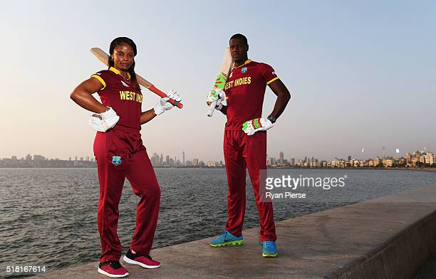 Merissa Aguilleira and Carlos Brathwaite of the West Indies pose during a West Indies Portrait Session on March 30 2016 in Mumbai India
