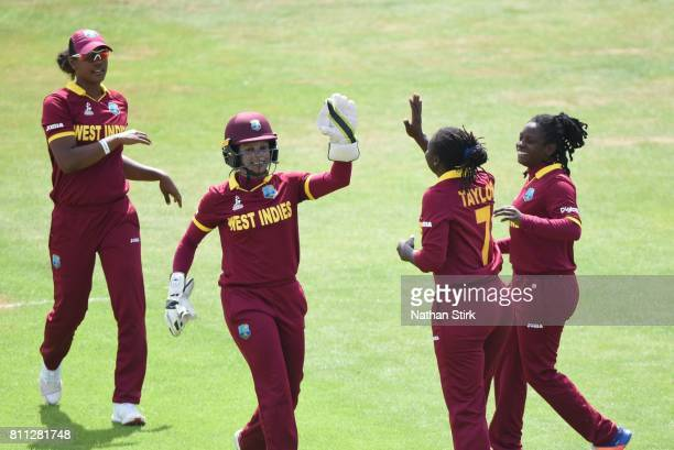 Merissa Aguilleira high fives Stafanie Taylor of West Indies after Hasini Perera of Sri Lanka edges the ball during the ICC Women's World Cup 2017...