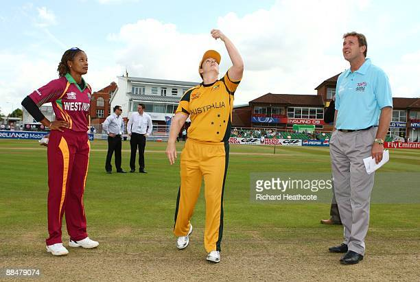 Merissa Aguilleira looks on as Karen Rolton of Australia makes the toss West Indies won the toss and elected to bat prior to the ICC Women's Twenty20...