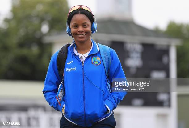 Merissa Aguilleira of the West Indies arrives ahead of the ICC Women's World Cup 2017 match between West Indies and Pakistan at Grace Road on July 11...