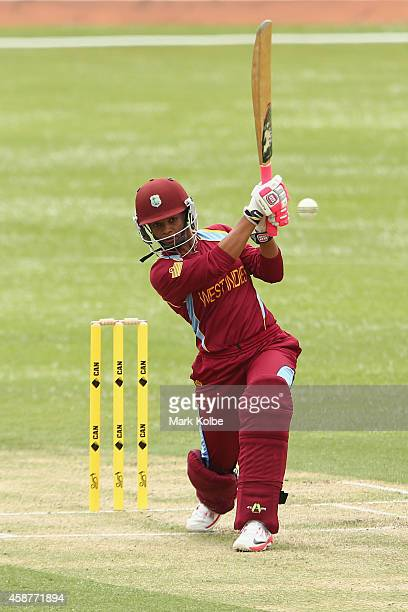 Merissa Aguilleira of the West Indies bats during game one of the women's One Day International series between Australia and the West Indies at...