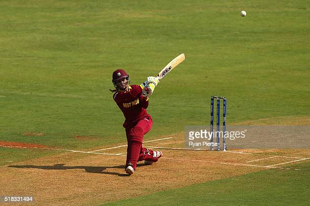 Merissa Aguilleira of the West Indies bats during the Women's ICC World Twenty20 India 2016 Semi Final match between West Indies and New Zealand at...