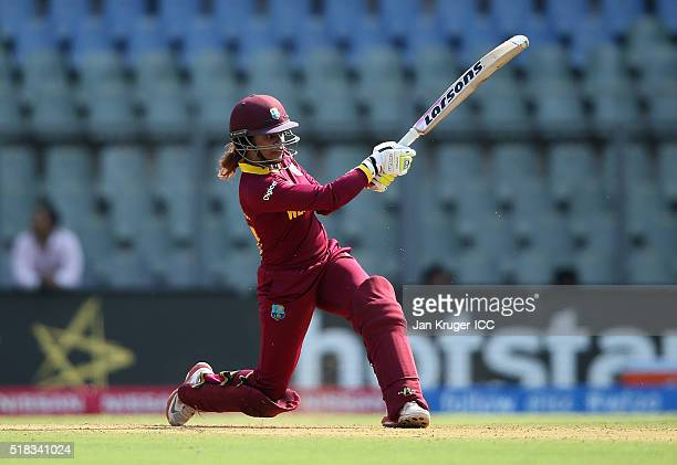 Merissa Aguilleira of the West Indies hits out during the Women's ICC World Twenty20 India 2016 Semi Final match between New Zealand and West Indies...