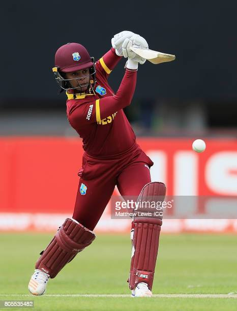 Merissa Aguilleira of the West Indies hits the ball towards the boundary during the ICC Women's World Cup 2017 match between South Africa and West...