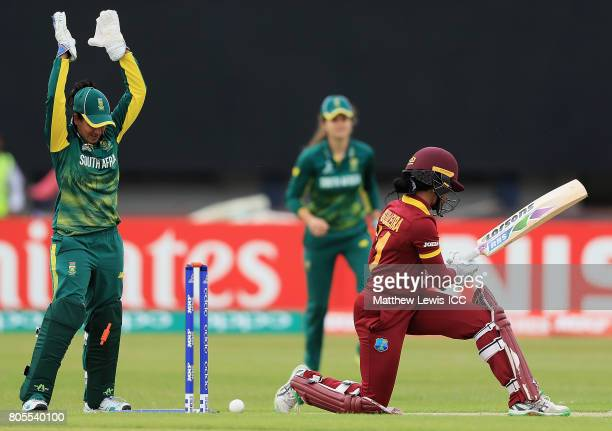 Merissa Aguilleira of the West Indies is bowled by Dane van Niekerk of South Africa during the ICC Women's World Cup 2017 match between South Africa...