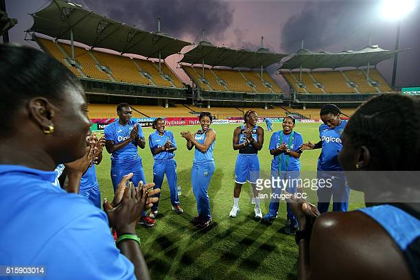 Merissa Aguilleira of the West Indies leads the team in a sing along ahead of the Women's ICC World Twenty20 India 2016 match between West Indies and...