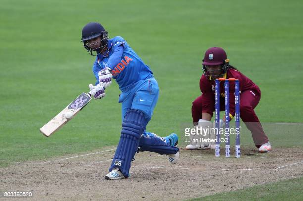 Merissa Aguilleira of The West Indies looks on as Mithali Raj of India scores runs during The ICC Women's World Cup 2017 match betwen The West Indies...