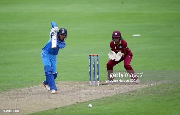 Merissa Aguilleira of The West Indies looks on as Smriti Mandhana scores runs during The ICC Women's World Cup 2017 match betwen The West Indies and...