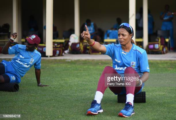 Merissa Aguilleira of the West Indies reacts during a West Indies Net Session at Coolidge Cricket Ground on November 20 2018 in Antigua Antigua and...